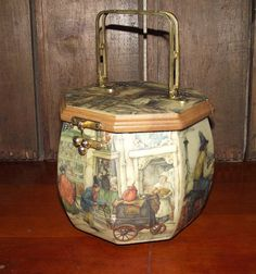 Delicious Decoupage Octagon Wooden Purse with a Victorian Scene by Dutch artist Anton Pieck. Likely made around the late 1950s with metal hardware