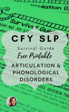 CFY SLP or grad students in speech language pathology- you'll LOVE this, it's a free speech therapy guide for treating articulation and phonological disorders! a cool reference for speech therapy ideas!