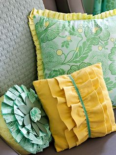 •Pillows with Fringe   Give store-bought pillows three-dimensional appeal with pleated edges and cute ruffles. Dress up a solid-color throw with ruffles down the center. Give a circular pillow a floral look with stacked ruffles. Add pizzazz to a square pillow with tiny ruffles around the edges.