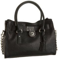 3f5ca6136dbf Michael Kors E W satchel shoulder bag black with silver hardware .