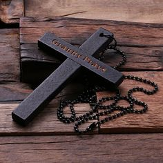 Black Personalized Engraved Wooden Religious Cross Necklace Birthday Christian Gift
