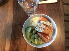 Avocado salmon rice creme fraiche chives sauce