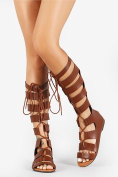 Strappy Caged Lace Up Gladiator Knee High Flat Sandals