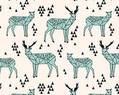 Little Woolf Fitted Crib Sheet in Pale Turquoise, Black & Champagne Geometric Deer, Woodland Nursery, Animal, Tribal, Gender Neutral,Organic