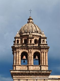 Stunning stormy bell tower of Cathedral Santo Domingo, Cusco, Peru
