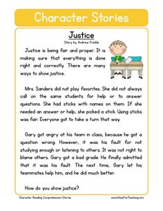 This Reading Comprehension Worksheet - Justice is for teaching reading comprehension. Use this reading comprehension story to teach reading comprehension. Reading Comprehension Worksheets, Comprehension Strategies, Reading Fluency, Reading Passages, Kindergarten Reading, Teaching Reading, Reading Response, English Stories For Kids, Short Stories For Kids