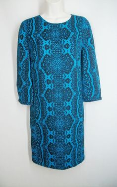 ANN TAYLOR LOFT New Size 10 Blue Black Print Sheath Dress 3/4 Sleeves Above Knee #AnnTaylorLOFT #Sheath #WeartoWork