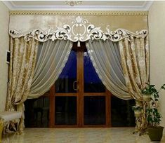 Curtain Patterns, Curtain Designs, Curtains With Blinds, Window Curtains, Window Coverings, Window Treatments, Wedding Columns, Luxury Curtains, Window Dressings