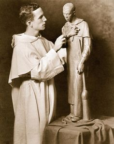 Dominican Priest and Scupltor Thomas McGlynn ( 1906-1977 ) sculpting St Martin de Porres.