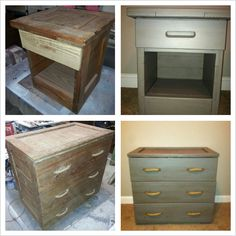 Before and After Shot of furniture using an antique glaze