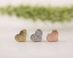 Items similar to Love Heart Stud Earrings Small Gold, Rose Gold and Sliver Gift For Women Girls on Etsy Handmade Silver, Handmade Items, Handmade Gifts, Rose Gold Earrings, Stud Earrings, Bracelet Knots, Fine Jewelry, Unique Jewelry, Love Heart