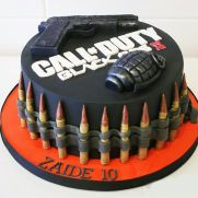 Black Ops II - Cake by Danielle Lainton Army Birthday Cakes, Army's Birthday, 10th Birthday Parties, Birthday Ideas, Black Ops Cake, Cupcakes, Cupcake Cakes, Call Of Duty Cakes, Army Cake