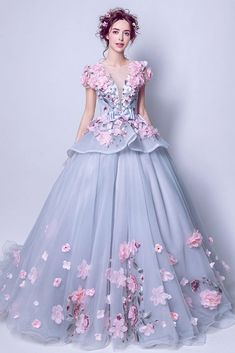 Unique Grey With Pink Floral Pageant Dress For Quinceanera Long Party Gowns, Party Wear Dresses, Pageant Dresses, Quinceanera Dresses, Evening Dresses, Wedding Dresses, Kids Bridesmaid Dress, Burgundy Evening Dress, Floral Chiffon Maxi Dress