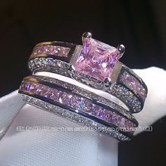 Pink Princess cut Wedding Ring Set Size ( 6,7,8,9 )