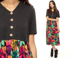 90s Midi Dress Floral I'd love to separate these and wear them with different things. :P