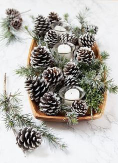 DIY Snow Covered Pine Cones & Branches Ways!} DIY Snow Covered Pine Cones & Branches Ways!},DIY gorgeous DIY snow covered pine cones & branches in 3 ways! Easy pinecone craft for winter weddings, farmhouse, Thanksgiving, Christmas decorations! Pine Cone Christmas Decorations, Christmas Pine Cones, Noel Christmas, Simple Christmas, Winter Christmas, Christmas Wreaths, Fall Winter, Pinecone Christmas Crafts, Christmas Bowl