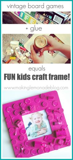 Easy Kids Craft Frame {From Old Board Games!} www.makinglemonadeblog.com #kidframe #diyframe