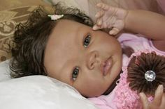 Aysha: This is a Shyann kit by Aleina Peterson.  I had her in mind when I decided to do my first AA reborn baby and had a vision of what I wanted her to look