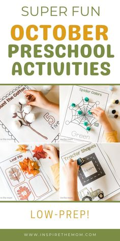 Pumpkins, spiders, leaves, and tractors…here are ten, super-fun, low-prep, hands-on, October Preschool activities! #October preschool Activities #October fine-motor activities #preschool October #October preschool themes #October lesson plans #pre k pages #pre k activities #October preschool activity binder #low-prep preschool #preschool printable #preschool at home #preschool resources Learning Letters, Alphabet Activities, Motor Activities, Preschool Themes, Early Literacy, Autumn Theme, Pre School, Lesson Plans, Prepping