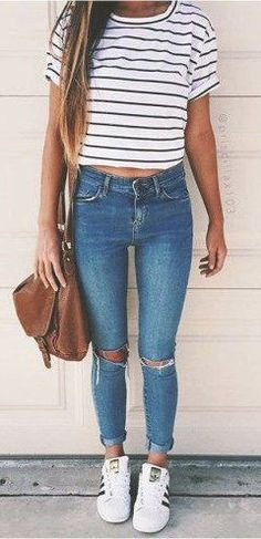 #spring #outfits Striped Tee + Distressed Skinny Jeans + White Adidas Sneakers