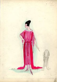 """<em>""""Evening Dress, Chéruit, 1917. Red dress, tea length with two side trains; bodice with elbow length sleeves extending to points with silver tassels; red sash; silver abstract design on dress. (Bendel Collection, HB 021-31)""""</em>, 1917. Fashion sketch, 12.25 x 8.5 in (31.1 x 21.6 cm). Brooklyn Museum, Fashion sketches. (Photo: Brooklyn Museum, SC01.1_Bendel_Collection_HB_021-31_1917_Cheruit_SL5.jpg"""