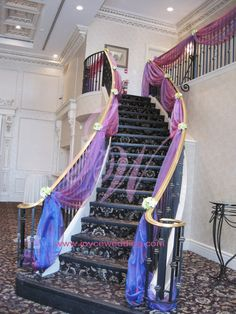Could do this to our outside railings in front for the big reveal stair drapery decoration for wedding junglespirit Images
