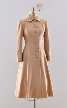 "Gabardine 40s coat / Lilli Ann ""New Look"" / Rare 1940s Princess Coat."