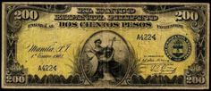 1912 Two Hundred Pesos Bank Of The Philippine Islands 200 Pesos Philippine Bank Note 1912 Obverse: Justice with scales and shiel. Philippine Peso, Disney Princess Memes, Filipiniana, Old Money, Philippines Travel, Vintage Photos, Coins, History, Banknote