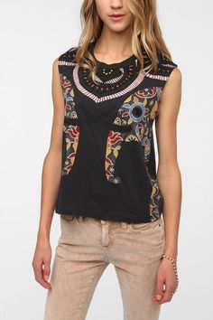 Muscle Tees For Women | Title Unknown Henna Elephants Muscle Tee - Urban Outfitters