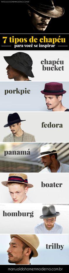 Vários tipos de chapéu para homens que estão na moda. Chapéu bucket, porkpie, fedora, panamá, boater, homburg e trilby.