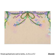 Ornate garland note card or invitation