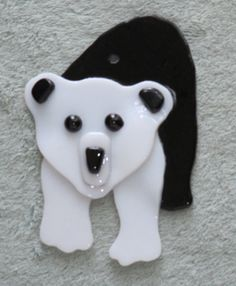 SUNCATCHER-ORNAMENT  Fused Glass Panda Bear  by OstisInspirations