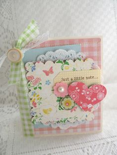 Handmade Greeting Card Just A Little Note All Occasion Shabby Chic Floral Cool Cards, Diy Cards, Tarjetas Diy, Idee Diy, Pretty Cards, Card Tags, Flower Cards, Vintage Cards, Greeting Cards Handmade