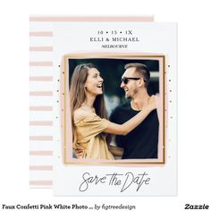 Faux Confetti Pink White Photo Save The Date Card This faux gold confetti and pink brush stoke wedding save the date card features some faux gold confetti on either side of the card. The design also includes a faux gold border around the couples photograph with a pink brush stroke border beneath it. The back of the card is white with a pink striped pattern. This modern and stylish wedding save the date includes the details at the top of the card in black text and some hand written script in…
