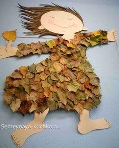аппликация из листьев детская