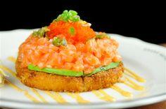 Crispy Rice Cake + Spicy Salmon (Sushi Pizza) - The Drake Hotel