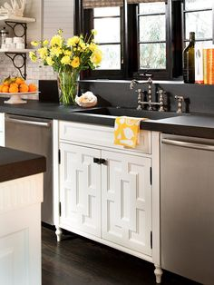 Embellish clean-line cabinet doors such as recessed panel Shaker style or flat front contemporary panels with molding for a custom look for less.