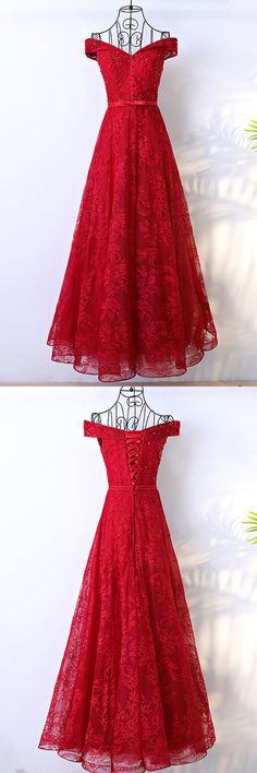 Only $118, Special Occasion Dresses Red Long Lace Formal Party Dress With Off Shoulder #MYX18105 at #GemGrace. View more special Bridal Party Dresses,Special Occasion Dresses now? GemGrace is a solution for those who want to buy delicate gowns with affordable prices. Free shipping, 2018 new arrivals, shop now to get $10 off!