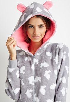 Rabbit Print Plush PJ Jumpsuit   Forever 21 - 2000141401