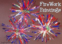 #1 of 4...Firework Painting- Supplies:  -Pipe cleaners. -Paint (red, white, blue).  -Glue (optional). -Glitter (optional).          -Paper  http://www.jugglingwithkids.com/2012/07/firework-painting.html