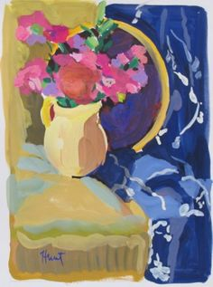 another small gouache painting by artist Linda Hunt by LindaHunt Gouache Painting, Flower Art, Still Life, Your Favorite, Fine Art, Abstract, Yellow, Artist, Flowers