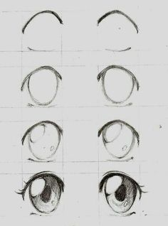 Learn To Draw Manga - Drawing On Demand - Anime / manga eyes step by step – # animemanga - Anime Drawings Sketches, Pencil Art Drawings, Anime Sketch, Cute Drawings, Art Sketches, Drawing Faces, Anime Eyes Drawing, Cute Eyes Drawing, Drawings Of Eyes