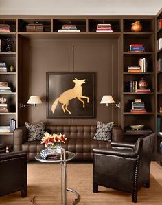 Den/library: Open, built-in bookcases, dark walls leather sofas || Scenic | Ryan Street & Associates