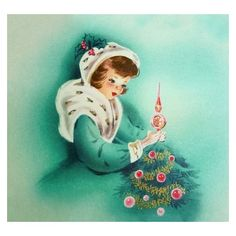 VINTAGE CHRISTMAS CARD PRETTY LADY FUR CAPE PLACES INDENT TREE TOPPER... ❤ liked on Polyvore featuring home, home decor, holiday decorations, vintage christmas card, pink ornaments, aqua home accessories, vintage holiday decorations and vintage home accessories