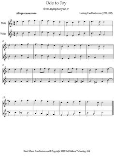 Beethoven -  Ode to Joy Theme from 9th Symphony sheet music for Violin-Flute Duet