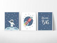 3 Space Rocket Prints, Mond Illustration, Kinderzimmer Wandkunst, Kinderzimmer S. 3 Space Rocket P Baby Room Art, Kids Room Wall Art, Baby Boy Rooms, Baby Room Decor, Nursery Wall Art, Paintings For Kids Room, Nursery Decor, Alphabet Nursery, Alphabet Letters