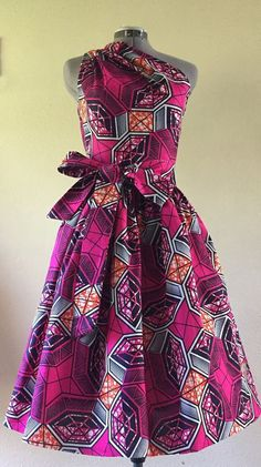 Make a Statement African Wax Print One Shoulder Dress by WithFlare: