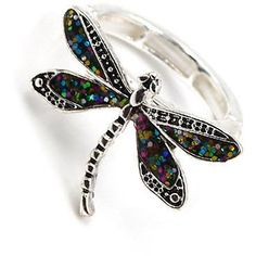 "Silver tone multicolored glitter dragonfly stretch ring. One size fits most. Top face 1"" x 3/4"" #luxuryitems"