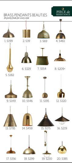 Brass Pendant Beauties: 20 Different Beautiful Light Fixtures   www.theanatomyofdesign.com