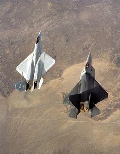 YF-23 and YF-22.